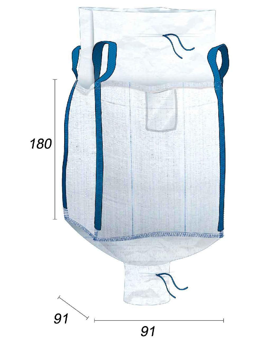 Big Bag Acreditado alimenticio, Antifugas - 91X91X180