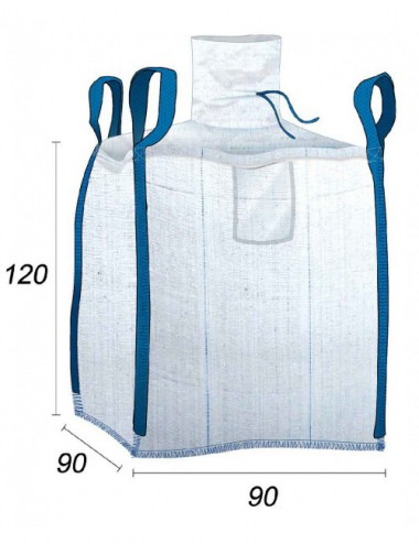 Big Bag Impermeable, residuos pulverulentos - 90X90X110