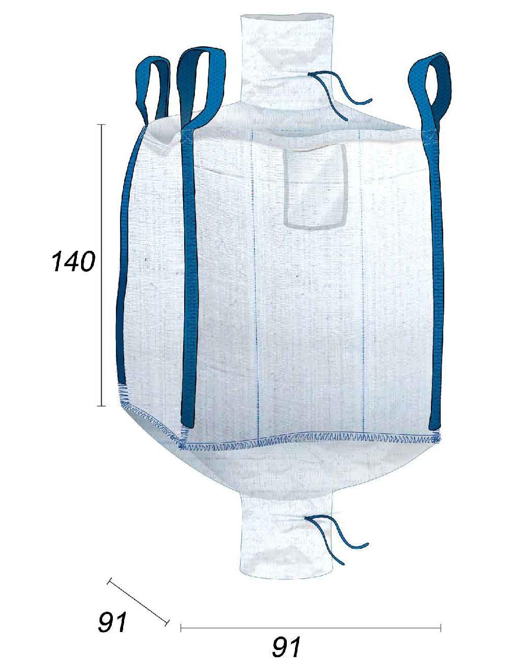 Big Bag Certificado agroalimentario Válvula de Carga - 91X91X140