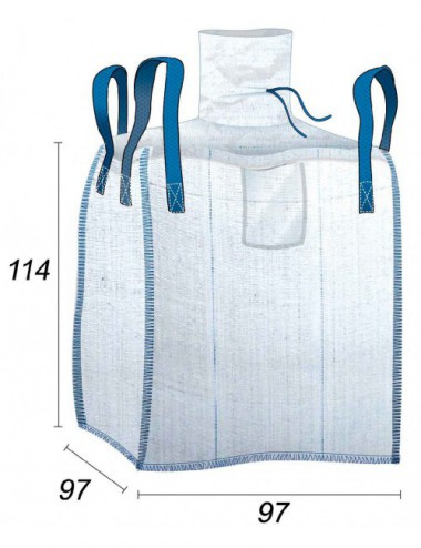 Big Bag Acreditado Alimentario 950 Litros - 97X97X114