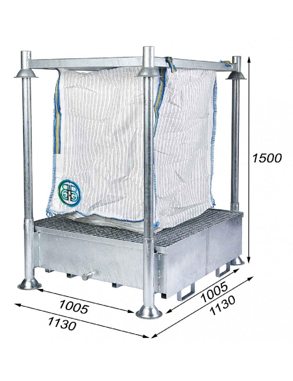 Marco soporte de Big Bag con de retención 440 Litros - Altura total 1500