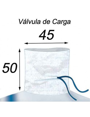Big Bag Impermeable, Costura antifugas - 90X90X120  Válvula de Carga 45X50